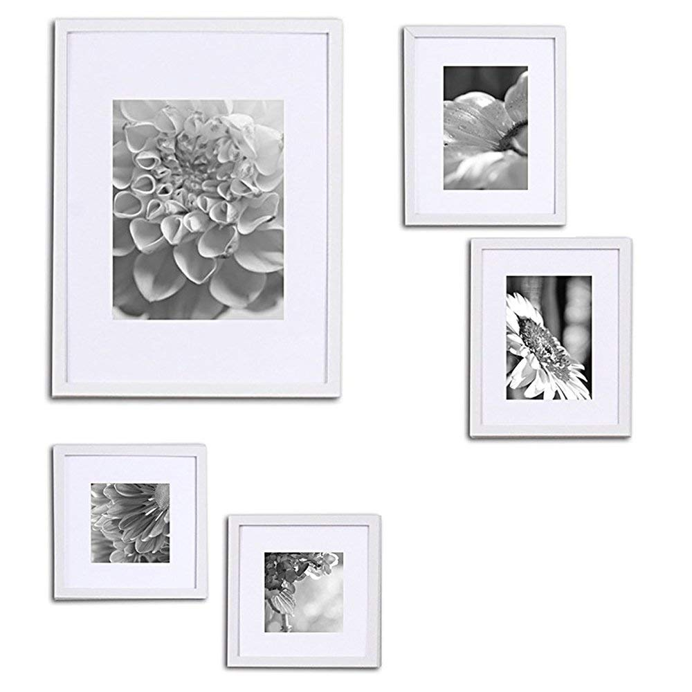 Gallery Perfect 5 Piece White Wood Photo Frame Wall Gallery Kit. Includes: Frames, Hanging Wall Template, Decorative Art Prints and Hanging Hardware