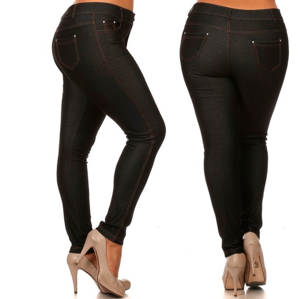 0993f95384909 Get Quotations · Women s Plus Size Cotton Jeans Look Skinny Jeggings  Stretch Black Pants Size 2XL