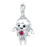 BAMOER Fashion 925 Sterling Silver Little Boy in Devil Shape Charm fit Charm Bracelets & Necklaces DIY Jewelry kids Gift