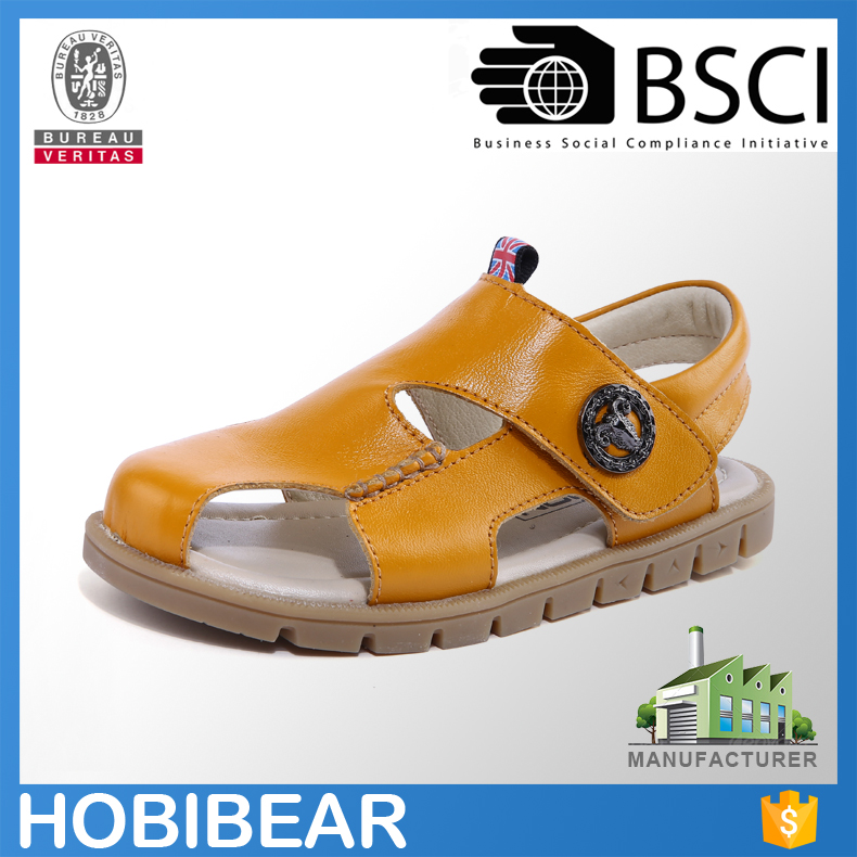 HOBIBEAR drop shipping rubber sole children genuine leather sandals shoes for boys