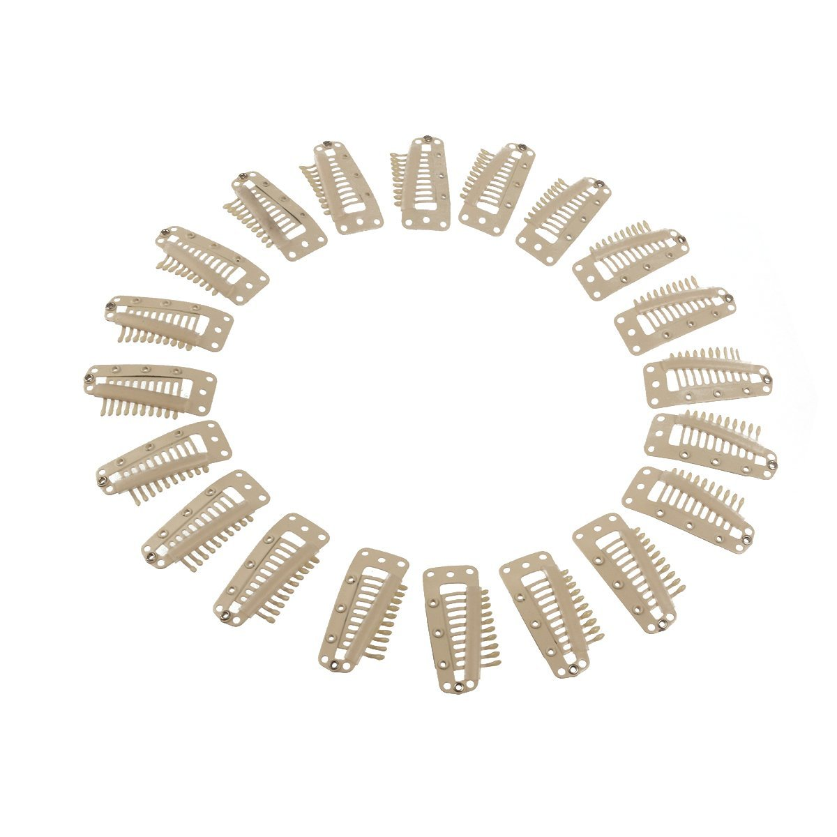 LEORX 20pcs 10-Teeth Snap Clips U-shape Metal Clipsfor Hair Extension (White)