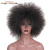 Aisi Hair Yaki Straight Style Synthetic Short Black Afro Hair Wigs For African American Women