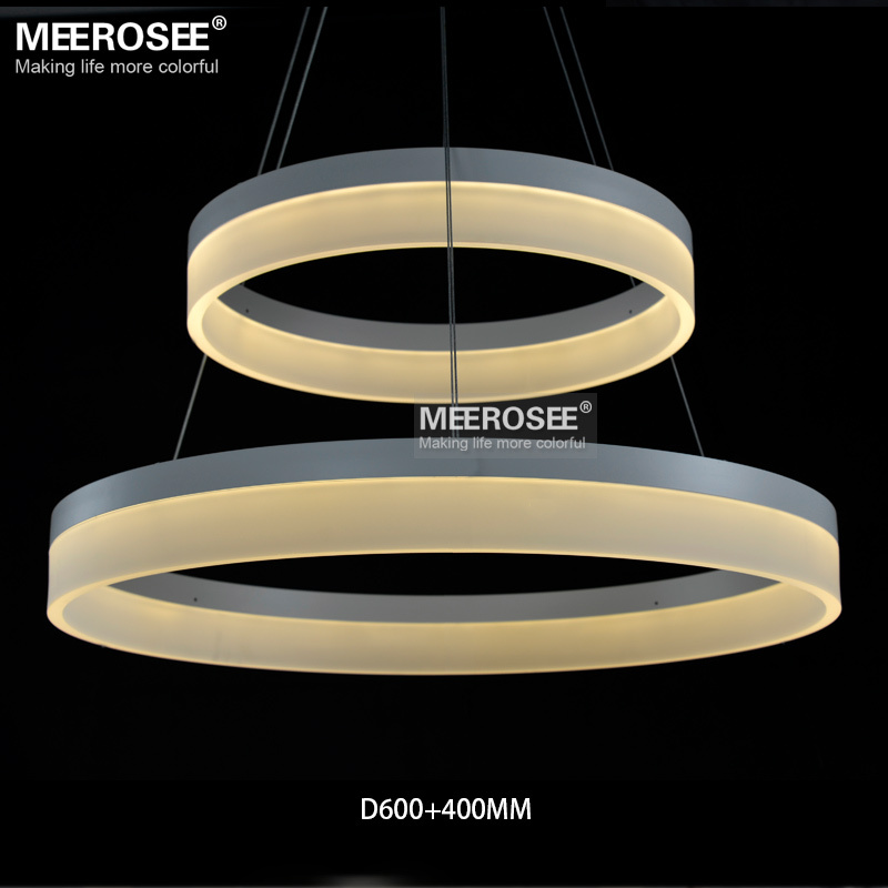 Led Round Chandelier Modern Acrylic Lamp Light For Dinning Room Res 3 Rings Restaurant Hanging Fixture Md5060