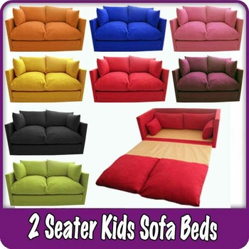 Kids Childrenu0027s Sofa Fold Out Bed Boys Girls Seating Seat Sleepover Futon  Guest
