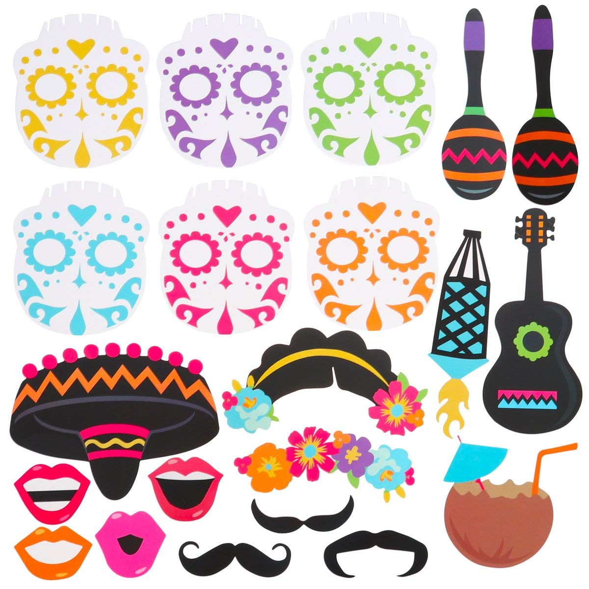 LUOEM 21pcs Cinco de Mayo Photo Booth Props Mexico Fiesta Day of The Dead Party Decoration