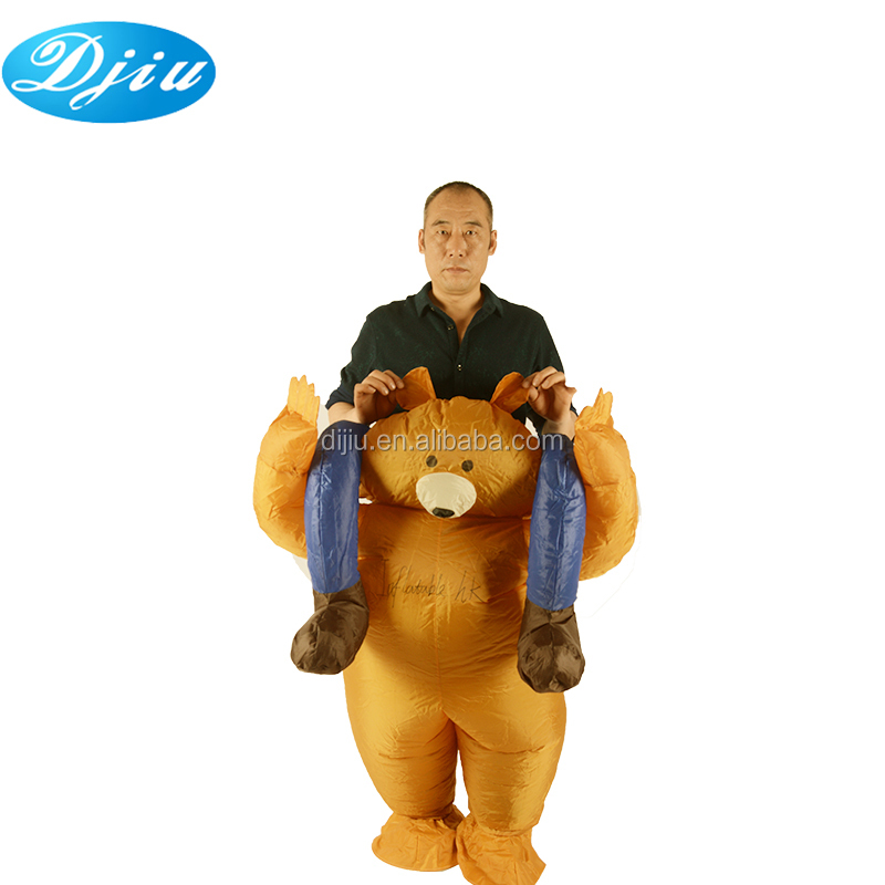 Halloween al por mayor oso de peluche marrón piggyback jinete inflable traje adulto