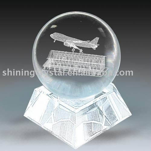 new design 3d laser crystal airplane