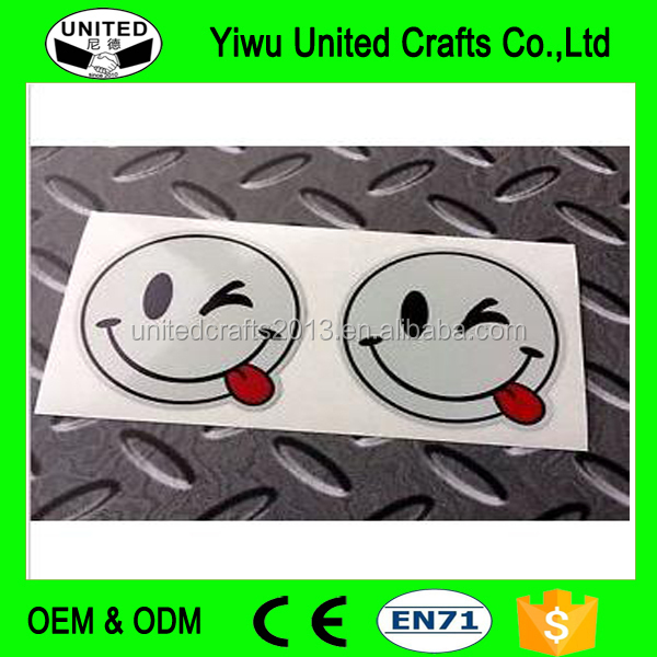 REFLECTIVE CHEEKY SMILEY EMOJI Car Motorcycle Helmet Stickers Decals 2 off 50mm