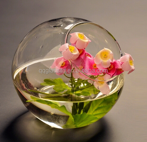 Forme de boule ronde mini Transparent bocal à poissons en verre