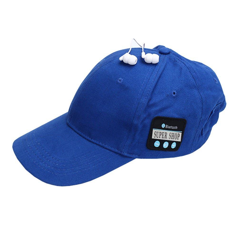 Supershop Wireless Bluetooth Music Baseball Cap Sports Sun Hat with Mic Answer Phone Hands-free Bluetooth In-ear Headset Adjustable Hat Speaker Summer Cap for Men Women (BS-01 Blue)