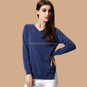 China supplier new product cotton pullover V neck jumper women knitwear hand knitted sweater