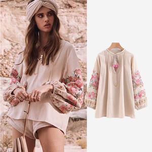 2019 Autumn Vintage New Womens Boho Clothing Beach V-Neck Tassel Lantern Sleeve Loose Blouse