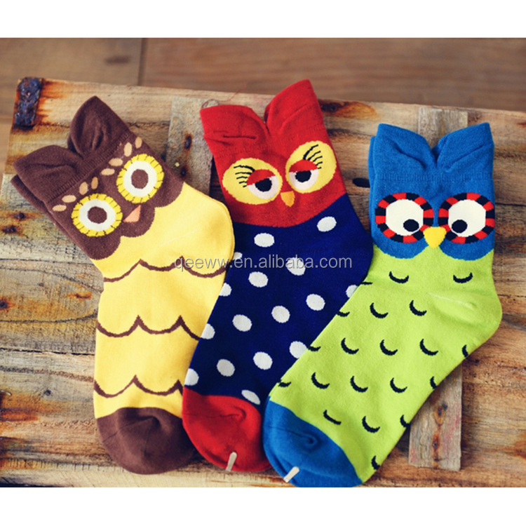 Yhao OEM services wholesale custom sports Socks Fashion night owl pattern 3D cotton women socks