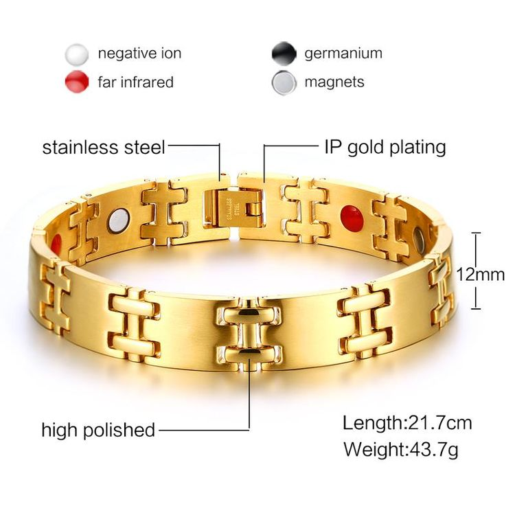 New Men's Gold Plated High-quality Tungsten Carbide Infrared Magnet Germanium Stone Bracelet