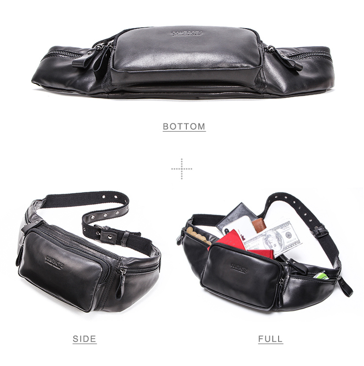 dropship contact's wholesale custom men genuine leather outdoor waist pack fanny pack belt bag phone pouch vintage waist bag