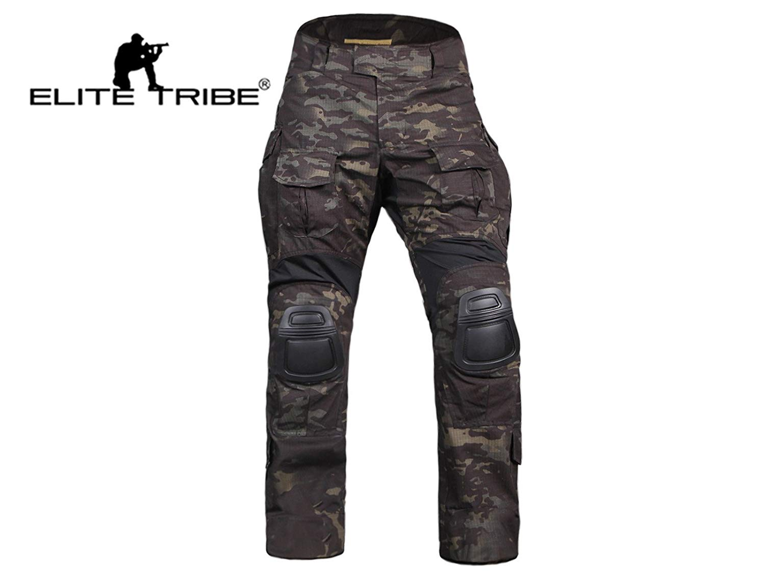 21690f39 Get Quotations · Elite Tribe Airsoft Hunting Tactical Pants Combat Gen3  Pants with Knee Pad Multicam Black
