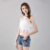 Women's fashion design sexy lace cross strap embroidered lace short vest top