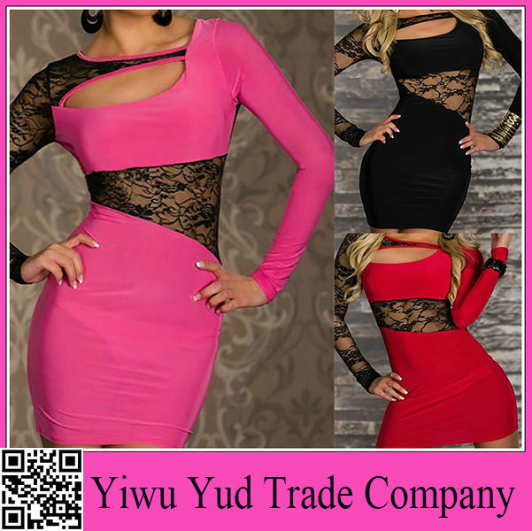 Wholesale Women's Long Sleeve Designs Lace Dress Sexy Night Dress for Women