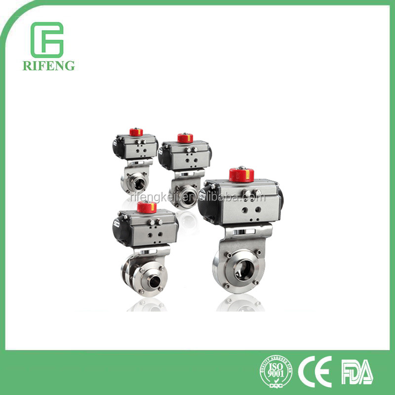 Sanitary Stainless Steel Pneumatic Butterfly Valves With Different Connector