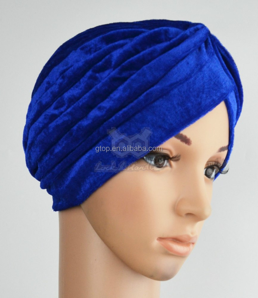 navy royal blue velvet Turban Head Wrap