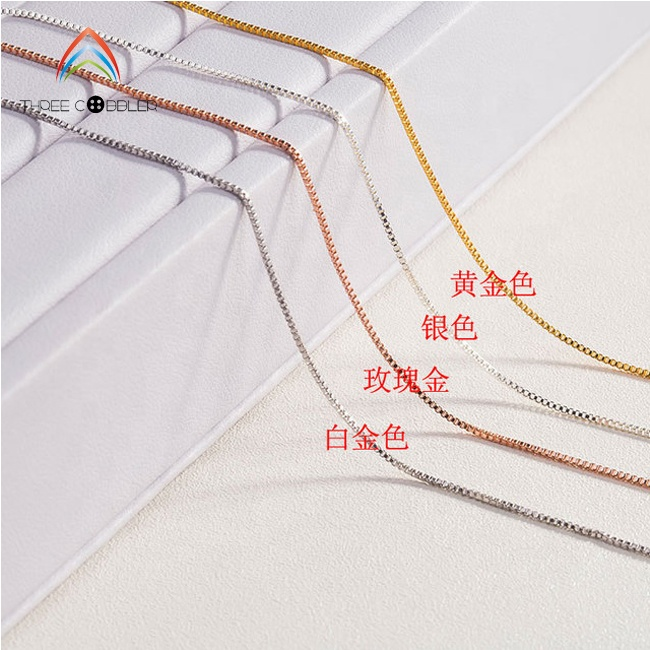 Y0089 Gold/<strong>Silver</strong>/Rose gold/Platinum plated 1mm Square Box Chain Necklace For Jewelry Making