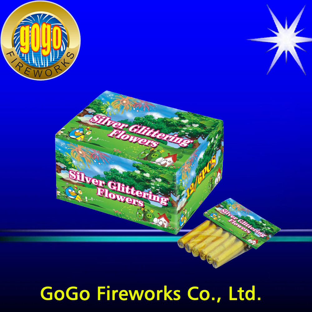 675T Silver Glittering Flowers firework paper tubes bottle rocket fireworks for sale colour flower fireworks