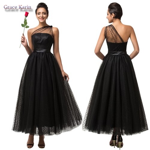 2015 Transparent One Shoulder Tulle Long Prom Dress Black Formal Evening Gowns Elegant Sexy Party Dresses Dance Ball Gown 007561