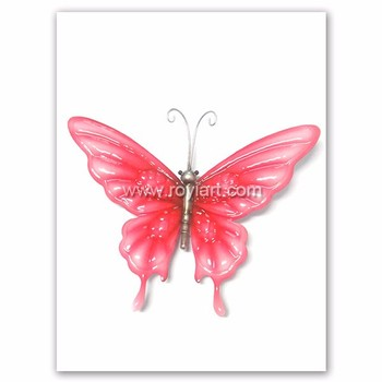 Garden Decorative Metal Craft Wall Art Hanging Small Pink Butterfly