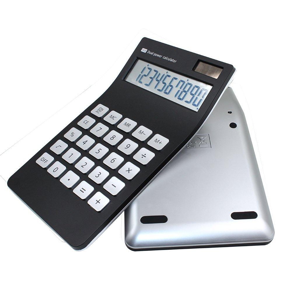 Tmarton Standard Functional Dual Powered Office Desktop Electronic Calculator with 10-digit LCD Display(Black)