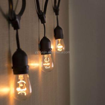 14awg Pvc 48 Feet 15pcs E27 Base Suspended Socket Cafe Black String Lights Outdoor Garden Led