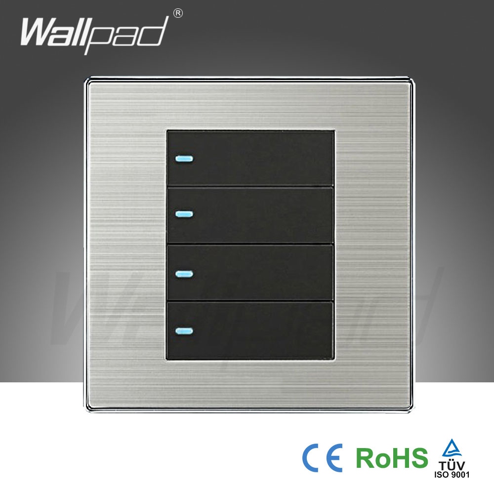 2015 Hot Sale Wallpad Push Button One-Side Click Switch 16A 110~250V Luxury Wall Light Switch 4 Gang 2 Way
