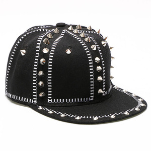 590cc32889e Wholesale High Quality Rock Hip-Hop Flat Brim Snapback Caps Hats Punk Skull  Spiked Studded