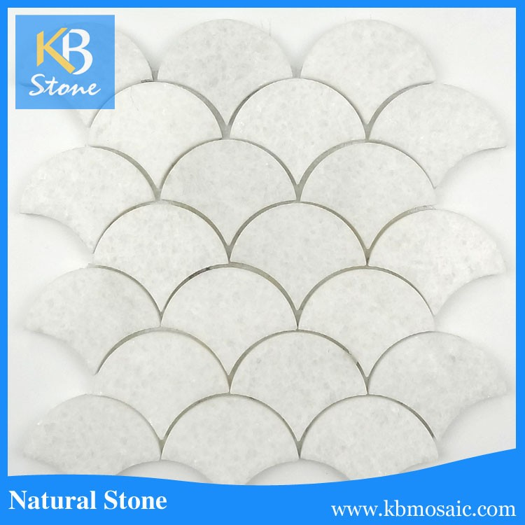 Carrara White Fish Scale marble mosaic waterjet tile