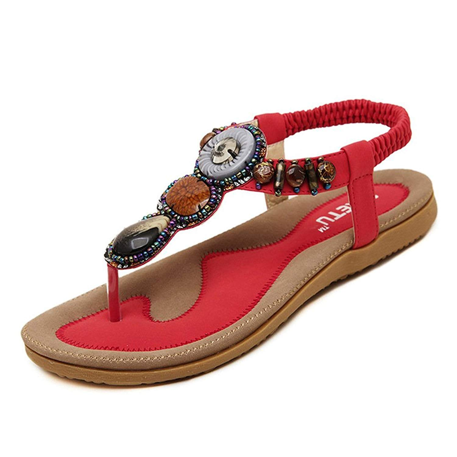 Get Quotations · Women s Summer Bohemian Beaded Ankle Walking Strap Sandals  Size 6 7 8 9 Casual Flip Flops 3309dbc3738