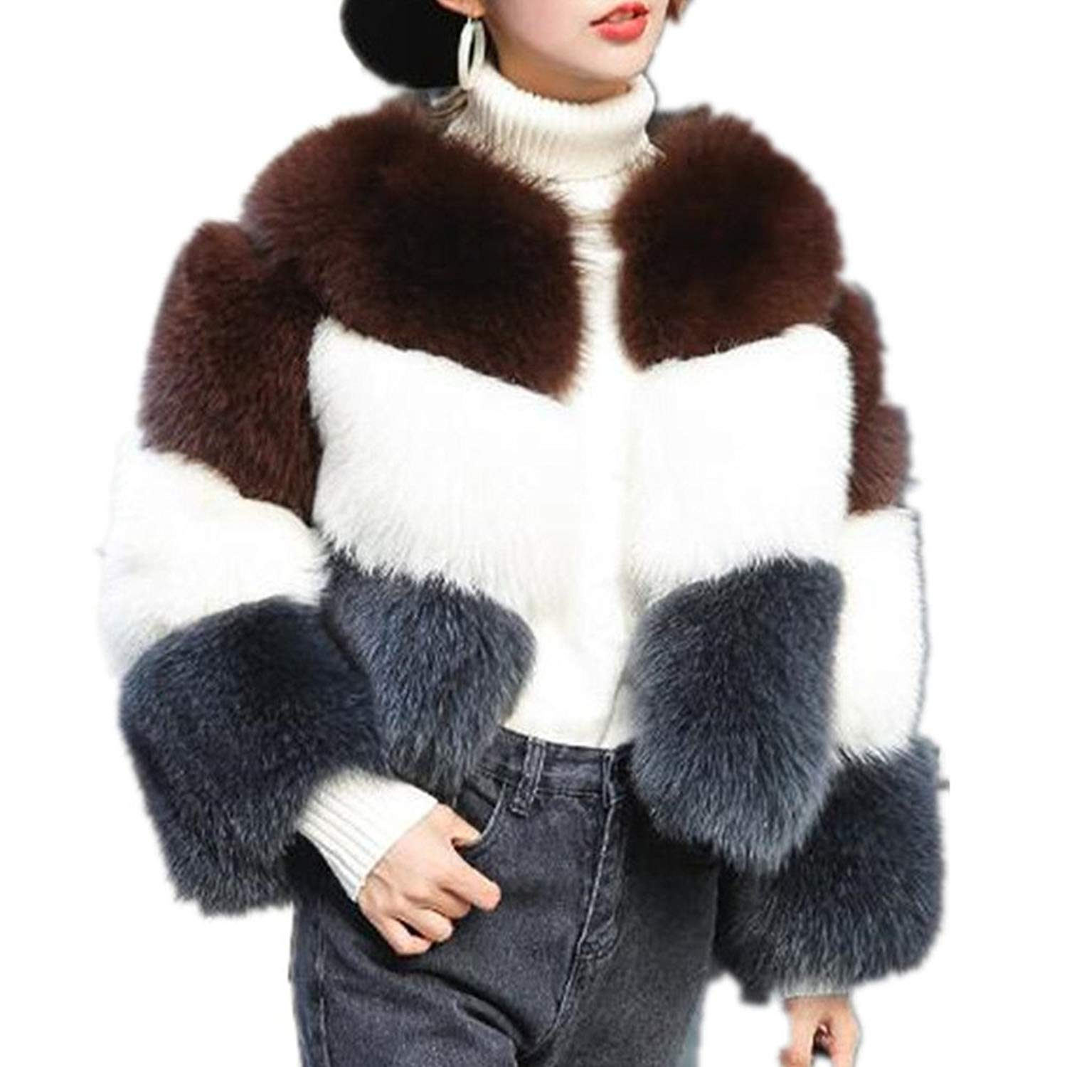 Lisa Colly New Winter Coat Furs Coat Fluffy Warm Faux Fur Coat Jacket Women Short Furry Fake Fur Outerwear Party Overcoat