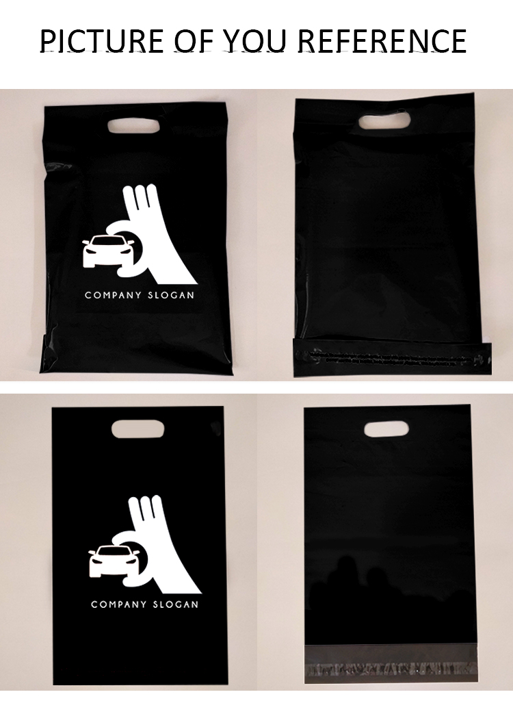 custom printed black poly mailer envelope with handle plastic post packaging bag for shipping