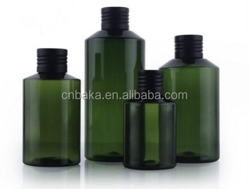 Green Plastic inclined shoulder bottle with plug and alumina cap PET bottle 50ml 100ml 150ml 200ml hotel shampoo packing bottle
