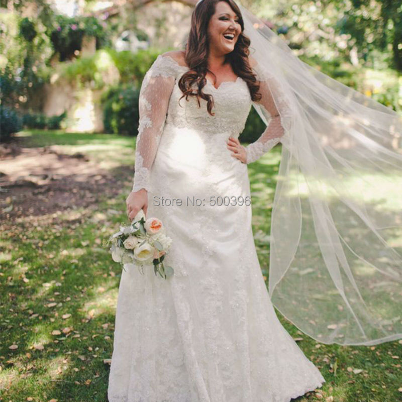 Plus Size Elegant Sheer Long Sleeves Wedding Dress 2016 ...