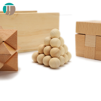 Pure Wooden Color 3D Three Shapes Puzzle Ball Funny Custom Smooth Tangle Teaser