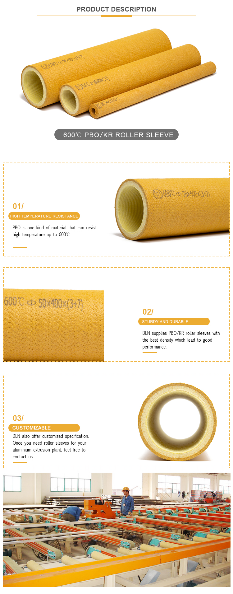 600 Degree High Temperature Resistant PBO Aramid Felt Roller  For Aluminium Extrusion Profile