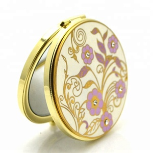 Round Metal Compact Jeweled Custom Cosmetic Makeup Pocket Mirror