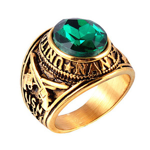 Solid stainless steel green emerald gemstone ring for mens