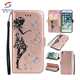 Embossed girl sticker pu leather wallet phone case card slots for iphone 8, flip cover leather phone case for iphone 8