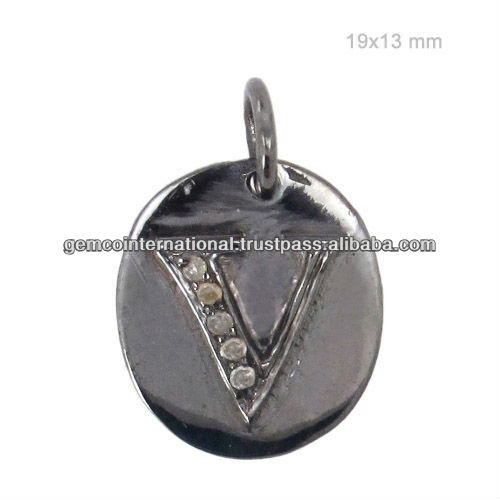 925 Sterling Silver Diamond Initial V Charms Pendant Jewelry
