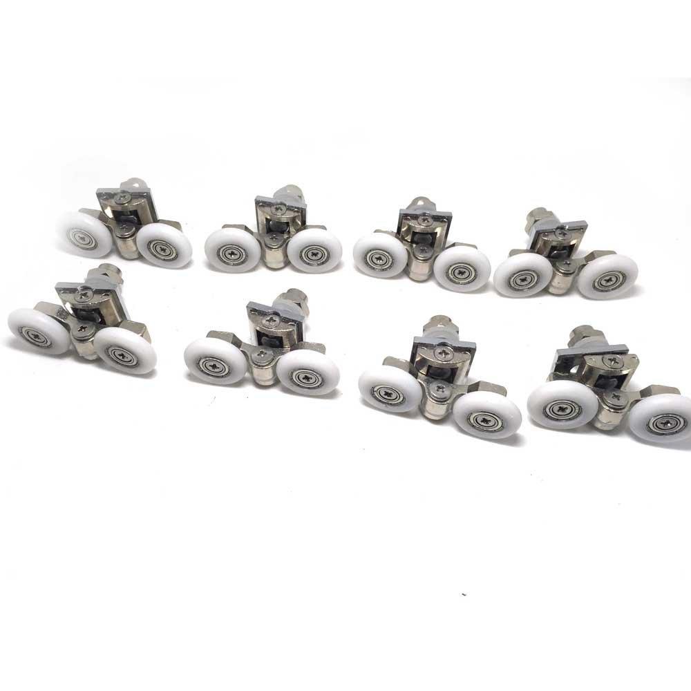 8PCS x Twin Shower Door Pulleys,Roller diameter 19 /22/23/25/27mm, For the Bathroom Pan Glass Sliding Door Pulleys/Runners/Wheels,Strong Load-bearing Capacity, Ultra-quiet,CY904A-8PCS