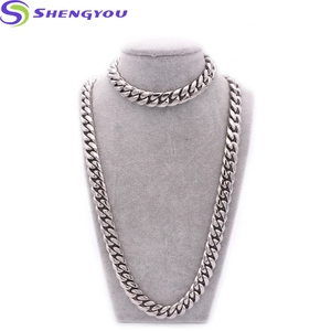 Custom Stainless Steel Jewelry Silver Necklace Cuban Link Chain Bracelet Set