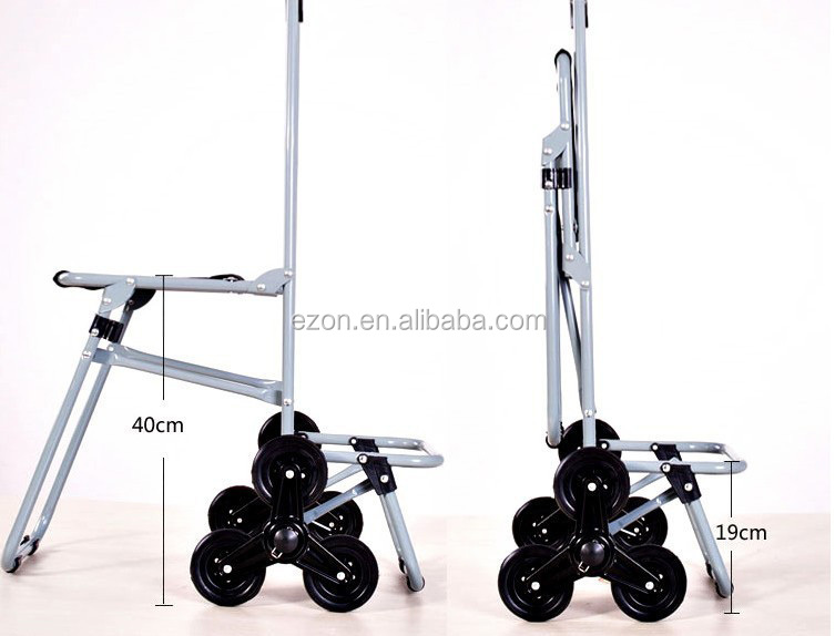 Collapsible Shopping Cart Bag With Seat Climbing Stair