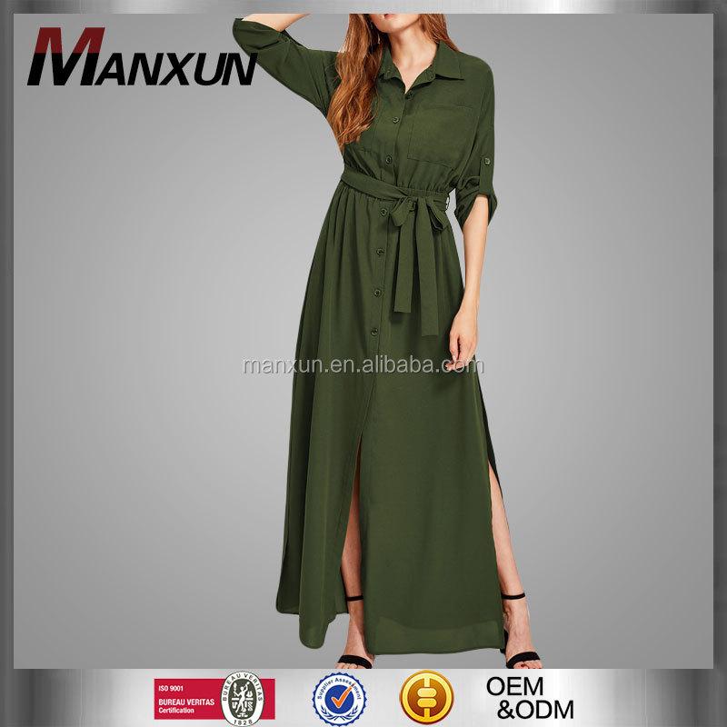 e170a3dc1b1 Wholesale Custom Womens Army Green Kebaya Button Oversize Casual Long Abaya Roll  Tab Sleeve Side Slit Shirt Dress