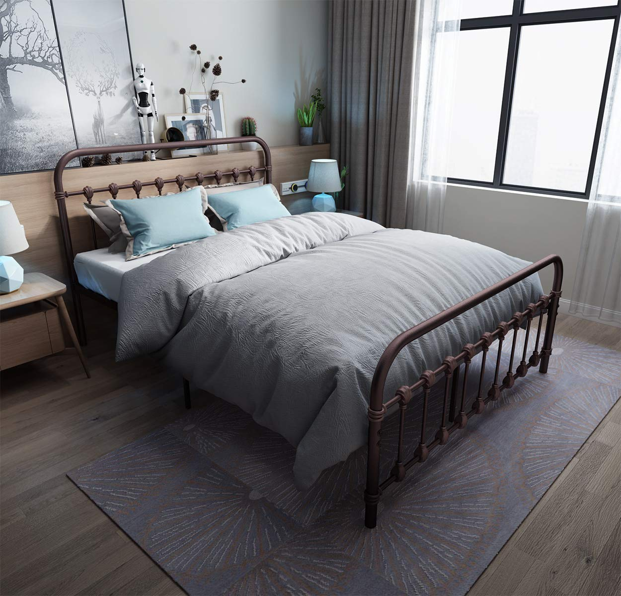 Metal Bed Frame Queen Size with shell Headboard and Footboard The country style Iron-Art Double Bed The Metal Structure, Antique Brown Baking Paint.Sturdy Metal Frame Premium Steel Slat Support.