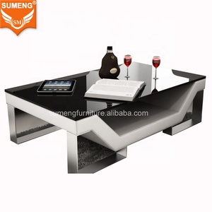 SUMENG stainless steel wooden furniture designs with coffee table